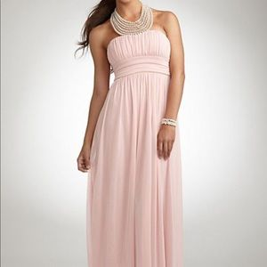 Pearl Jeweled Necklace Halter Pink Mesh Gown